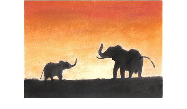 Diseño de elefantes de puesta de sol Pastel tizas para tacos de billar de silueta de dibujo + soporte: Amazon.es: Hogar
