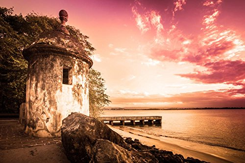 Wallmonkeys El Morro Old San Juan Puerto Rico at Sunset Peel and Stick Wall Decals WM225514 (30 in W x 20 in H)