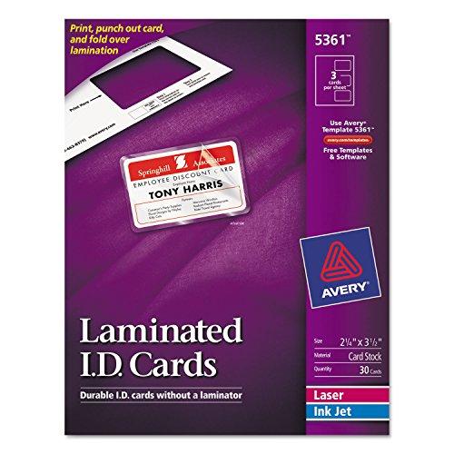Avery 5361 Laminated Laser/Inkjet ID Cards, 2-1/4