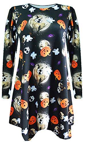 Sister Amy Women's Halloween Costume Skeleton Funny Long Sleeve Midi Dresses G-Halloween US S -
