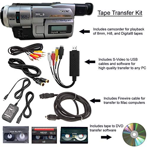 Sony Camcorder for 8mm Digital8 Hi8 Tape Transfer to Computer USB and DVD