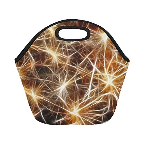 Insulated Neoprene Lunch Bag Star Golden Christmas Connection Structure Braid Large Size Reusable Thermal Thick Lunch Tote Bags For Lunch Boxes For Outdoors,work, Office, School
