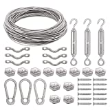 Tresbro Stainless Steel Guide Wire 164 ft Globe Lights Suspension Kit String Light Hanging Cable Railing Kit Decorative Lights Hanging Wire 164 ft Rope Cable,Turnbuckle and Hooks