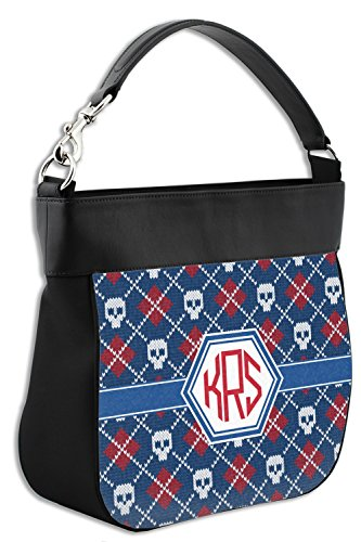 Trim Hobo Personalized Knitted Genuine Leather Purse Argyle amp; Skulls Front w S1xF8q76w