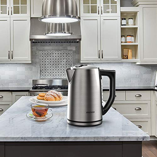 Miroco Electric Kettle Temperature Control Stainless Steel 1.7 L Tea Kettle, BPA-Free Hot Water Boiler Cordless with LED Light, Auto Shut-Off, Boil-Dry Protection, Keep Warm, 1500W Fast Boiling