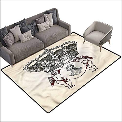 - Anti-Slip Coffee Table Floor Mats Medieval,Royal Antique Crest Symbol 60