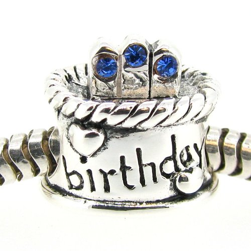 Sterling Silver Birthday Cake Blue Simulated September Birthstone Round European Bead Charm by Queenberry (Image #1)