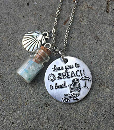 Love You to the Beach & Back Necklace with Seaglass Bottle