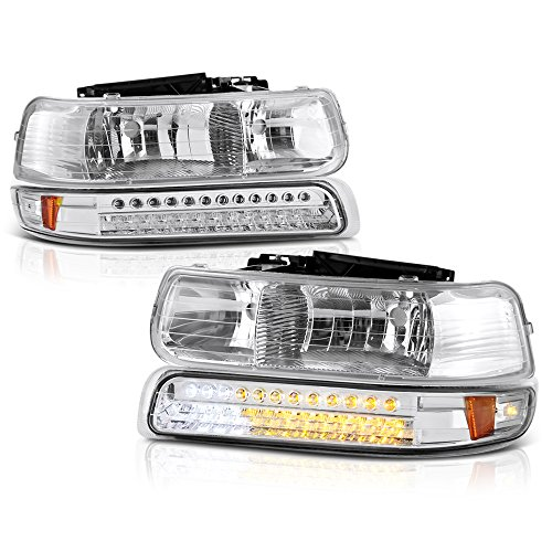 VIPMOTOZ For 1999-2002 Chevy Silverado 1500 2500 3500 Headlights - Metallic Chrome Housing, LED Daytime Running Lamp Strips, Driver and Passenger Side