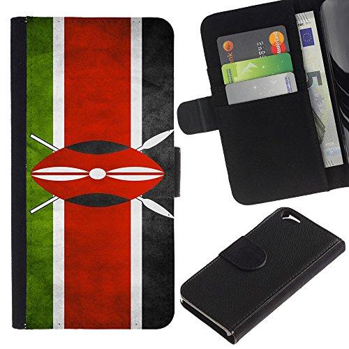 EuroCase - Apple Iphone 6 4.7 - Kenya Grunge Flag - Cuir PU Coverture Shell Armure Coque Coq Cas Etui Housse Case Cover