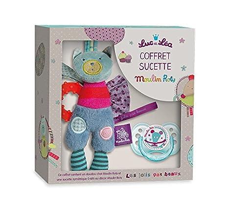 Luc y Lea Moulin Roty Collection de fotos chupete 0 - 6 meses + Doudou gato anillo dentición: Amazon.es: Bebé