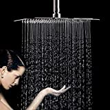 Rainfall Shower Head, 12 Inch Square Stainless Steel Rain Showerhead with Polish Chrome
