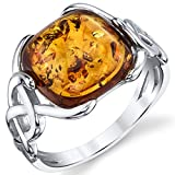 Best Ring With Silver Colors - Sterling Silver Baltic Amber Irish Celtic Design Ring Review