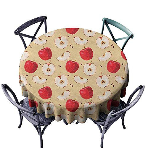 duommhome Apple Fabric Dust-Proof Table Cover Fresh Apple Slices with Seeded Backdrop Pie Ingredients Vegetarian Way of Life Easy Care D55 Cream Red Beige