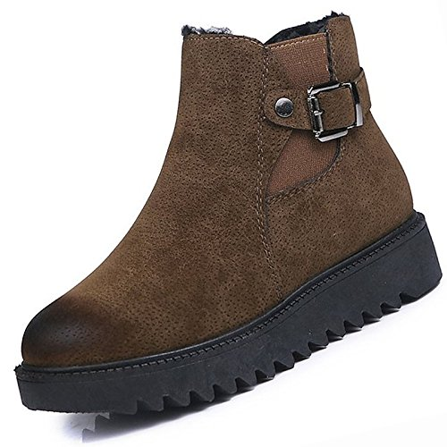 Brown US7.5   EU38   UK5.5   CN38 Brown US7.5   EU38   UK5.5   CN38 HSXZ Women's shoes PU Winter Combat Boots Boots Chunky Heel Round Toe Mid-Calf Boots for Casual Black Brown