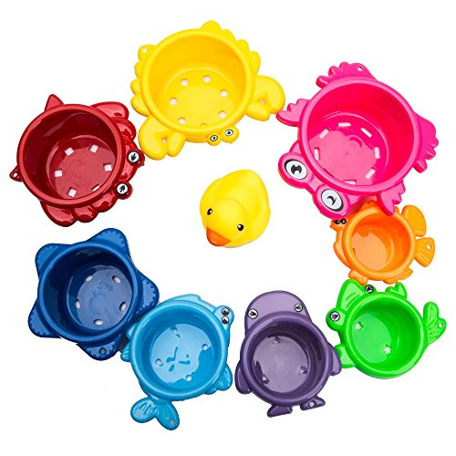 Toddler Stacking Cups, Best Rainbow Caterpillar 8 Pack Nesting Cups for Bath, Fun Early Educational Toy for Kids, Brightly Colored with Numbers Under the Sea Animals Stackable Toys with Rubber Duckie