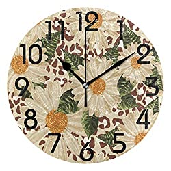 Dozili Stylish Beautiful Blooming Daisies Flowers Print Round Wall Clock Arabic Numerals Design Non Ticking Wall Clock Large for Bedrooms,Living Room,Bathroom
