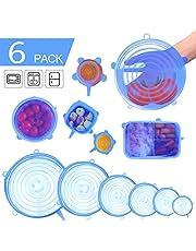Tapas Elásticas de Silicona - 6 Piezas Envoltura Plástica Reutilizable Alternativa para Cubetas y Recipientes de Almacenamiento/Fundas de Ahorro para Mantener los Alimentos Frescos y Sabrosos/ Coberturas de Comida para Recipientes en Lavavajillas Microondas Horno y Congelador