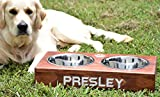 Personalized Dog Feeding Stand - Raised Dog Feeder - Elevated Dog Bowls - Modern Dog Bowls - Rustic Wood Dog Stand - Small Medium Dog Stand