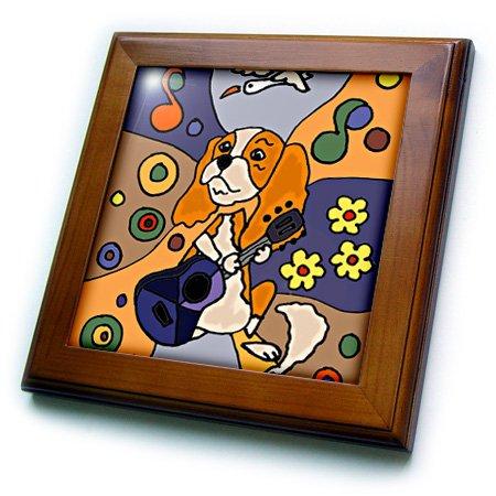 3D Rose Funny Cute Cavalier King Charles Spaniel Playing Guitar Art Framed Tile, 8