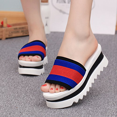 KHSKX-The Muffin Lady Slippers New Korean Fashion A Toe Female Slippers And Stripes Thirty-seven 3lHebc