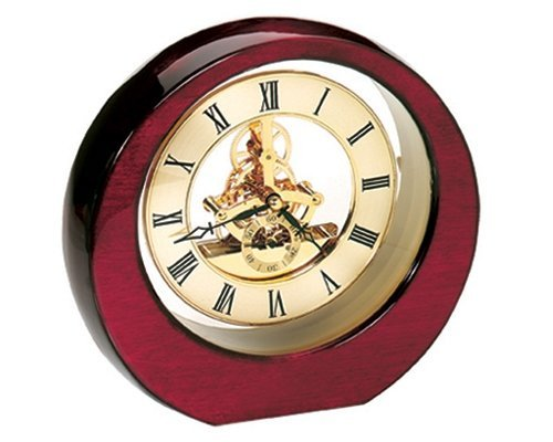 StealStreet SS-KD-3248 High Glossed Mahogany Banker's Analog Clock with Visual Gears, 8