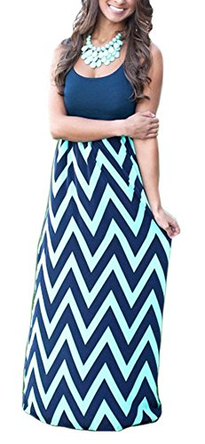Demetory Women`S Boho Sleeveless Wave Striped Maxi Dress (U16/Tag XL, Navy Blue)