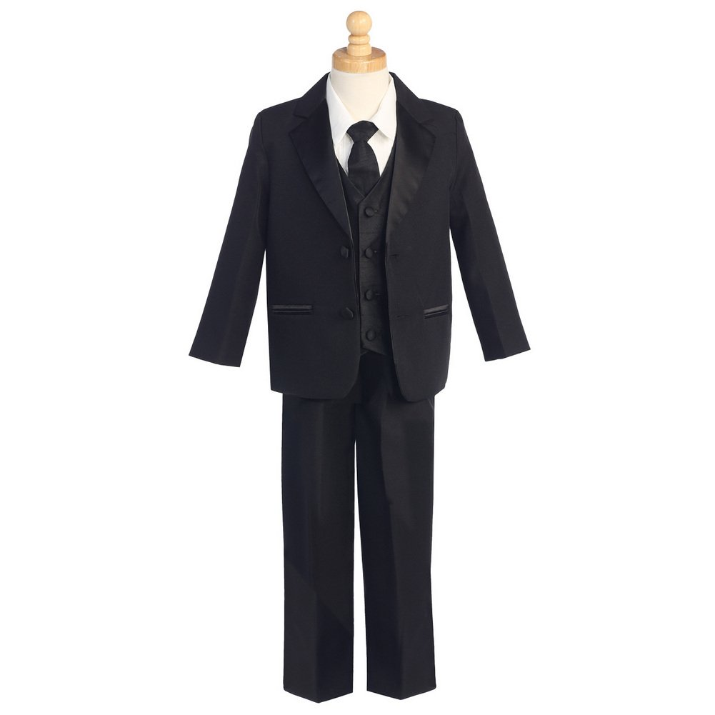 Lito Baby Boys Black Two-Button 5 Pcs Special Occasion Tuxedo 3-24M