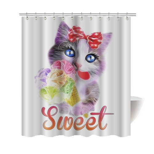 [Gwein Animals Funny Cute Cat Decor Shower Curtain Polyester Fabric Mildew Proof Waterproof Cloth Shower Room Decor Shower Curtains 66x72] (Cute Halloween Pictures Of Cats)