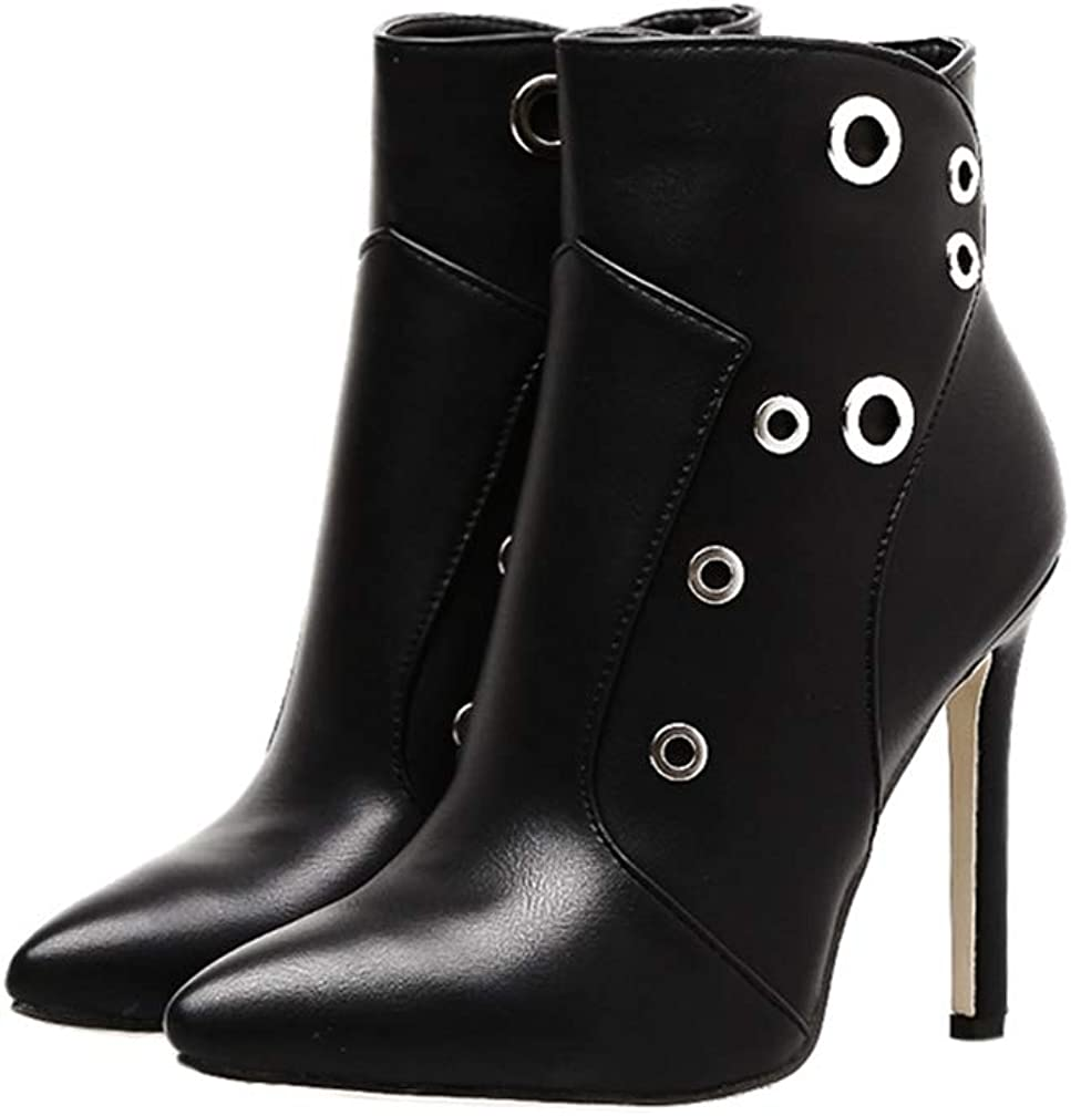 Woman Ankle Boots Zipper Pointed Toe High Thin Heels Black Ladies Fashion Party Cool Girl Autumn Winter Short Shoes