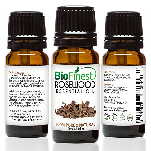 Biofinest Rosewood Essential Oil - 100% Pure Organic Therapeutic Grade - Best for Aromatherapy, Mood Relaxing, Ease Stress Anxiety Nausea Cold Sore Throat Muscle Ache Arthritis - FREE E-Book (Cypress Tea Tree Deodorant)