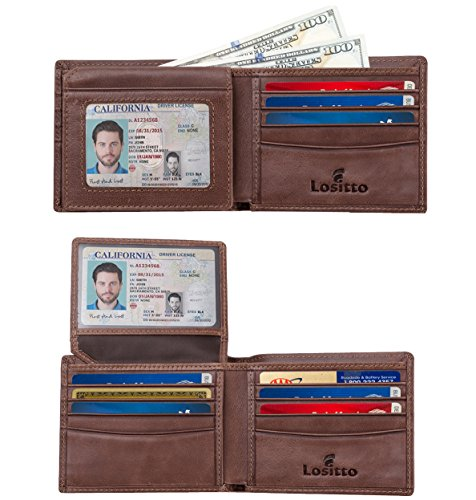 2 ID Window RFID Blocking Wallet for Men, Bifold Wallet, Sleek and Stylish Gift for Men, Multi Card Extra Capacity Travel Wallet (Large, Chocolate Brown-Distressed full grain ()