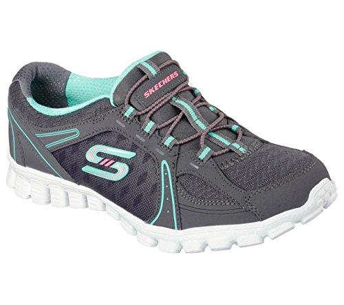 Skechers Sport Women's Ez Flex Right on Fashion Sneaker (8, Charcoal/Green)