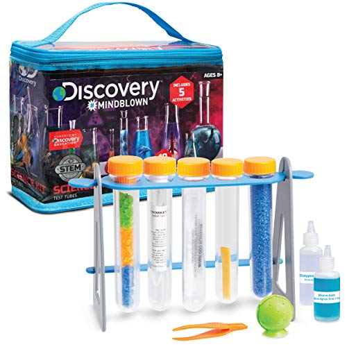 Discovery MINDBLOWN Kids Test Tubes Science 19-Piece Kit with 5 Educational Experiments, Hands-On STEM Toy for Boys Girls, Learn Chemistry Physics - Make Goo, Bouncy Ball, Invisible Ink, and More