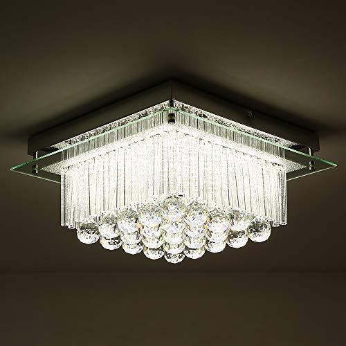 - Horisun Modern K9 Crystal Raindrop LED Chandelier Dimmable Flush Mount LED Ceiling Light Fixture, ETL Listed, 2640LM, 4000K Daylight White Pendant Lamp for Dinning Room,Livingroom,Bathroom,Bedroom
