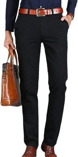 Wofupowga Mens Casual High Rise Slim Trousers Straight-Leg Pants