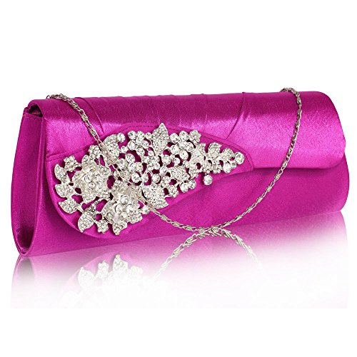 Ruched Purple Stunning UK DELIVERY Crystal Clutch FREE Satin Flower With wSq65qdC