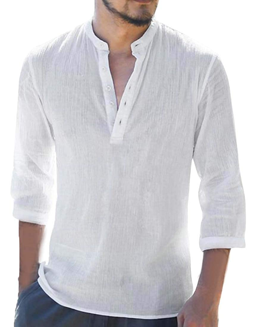 Sweatwater Mens 3//4 Sleeve Button Casual Stand Neck Linen Top Tee T-Shirts
