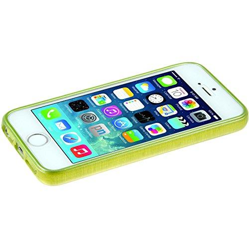PhoneNatic Case für Apple iPhone 5 / 5s / SE Hülle Silikon pastellgrün brushed Cover iPhone 5 / 5s / SE Tasche + 2 Schutzfolien