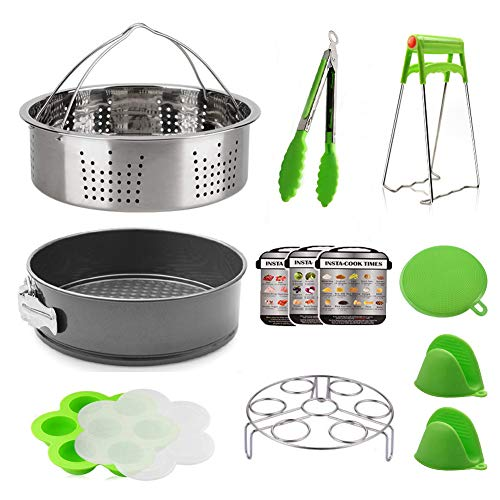 12 Pcs Instant Pot Accessories Set Compatible With 5, 6, 8 Quart Electric Pressure Cookers, Magnetic Cheat Sheets, Stainless Steel Steamer Basket, Non-Stick Springform Pan, Egg Trivet, Silicone Egg