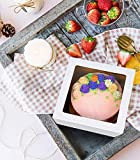 15-Pack Large Cake Boxes 12 X 12 X 6inch,White Tall Disposable Kraft Paperboard Auto-Popup with Window Cake Bakery Box Pack of 15