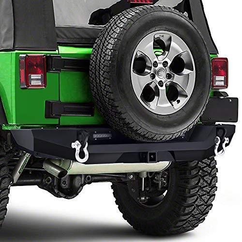 Heavy Duty Rear 2' Receiver - TURBOSII Black Textured Rear Bumper for 07-17 Jeep Wrangler JK Textured Heavy Duty with 2'' Hitch Receiver & 2 x 20W LED Lights,1 Year Warranty