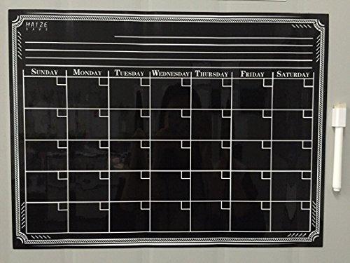 Magnetic Refrigerator Calendar Dry Erase Black Chalkboard