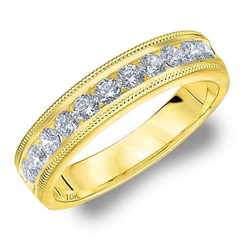 .50 CTTW Splendor Diamond Wedding Ring, 1/2ct Milgrain Anniversary Band in 10K Yellow Gold - Finger Size 6
