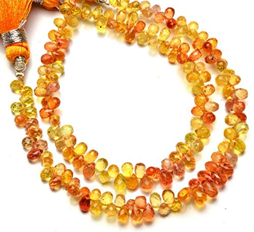 (KALISA GEMS Beads Gemstone 1 Strand Natural Songea Africa Yellow Sapphire 34 to 35MM Approx Faceted Teardrop Shape Briolettes Full 5.5 Inch)