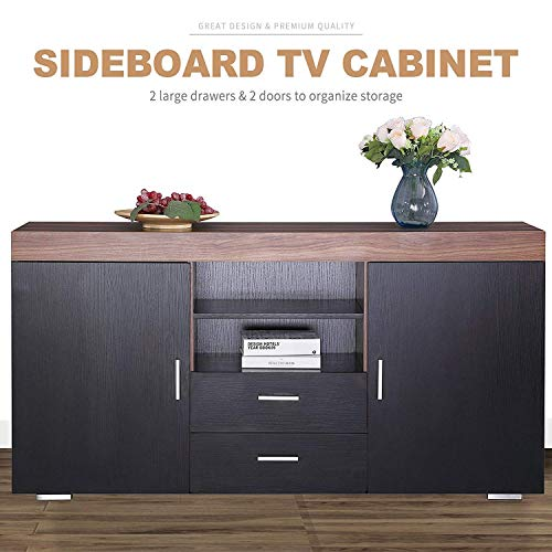 Mecor Kitchen Storage Sideboard Table Cabinet Cupboard Dining Buffet 2 Doors /2 Drawers Living Room Furniture (Black)