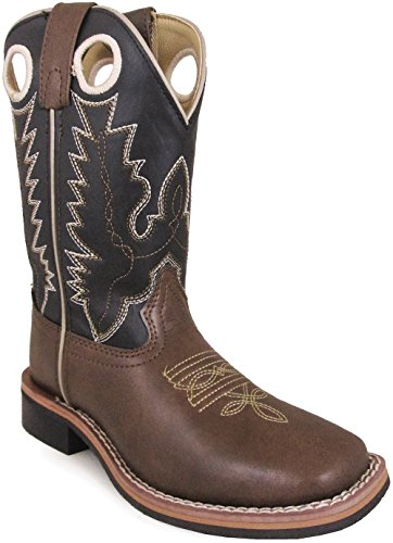 Smoky Mountain Childrens Blaze Stitched Design Rubber Sole Square Toe Brown/Black Western Cowboy Boot,3 (Boys Size 3 Cowboy Boots)