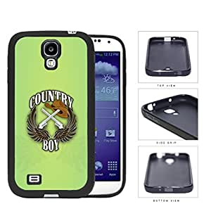 Country Boy Sign with Guns Cowboy Hat and Brown Wings with Green Samsung Galaxy S4 I9500 Rubber Silicone TPU Cell Phone Case