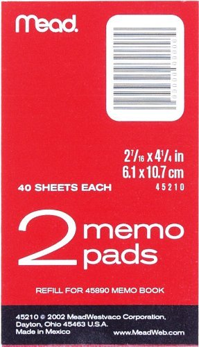 "3 PACK Mead Memo Pad refills 2-7/16"" x 4-1/4"", 2 Pads of 40 Pages Each (45210)"
