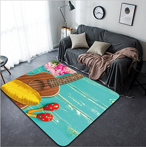 Vanfan Design Home Decorative Ukulele with Hawaii Style Background Modern Non-Slip Doormats Carpet for Living Dining Room Bedroom Hallway Office Easy Clean Footcloth by vanfan